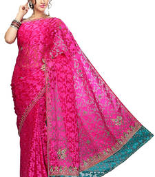 Buy pink embroidered banarasi cotton saree with blouse cotton-saree online