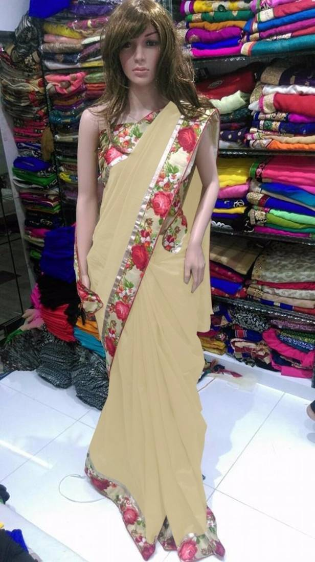 Buy Chiku Plain Georgette Saree With Blouse Online