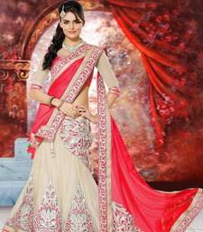 Buy White and Red Embroidered Net and Chiffon unstitched lehenga-choli eid-lehenga online