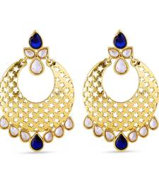 Buy Chand Bali Blue Kundan Work Design Earrings For Occasion hoop online