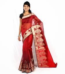 Buy Supernet resham work banarasi border saree supernet-saree online