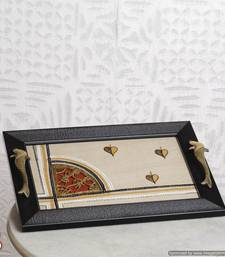 Buy Wooden hand crafted Tray with Silk and Dhokra work tray online