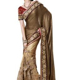 Buy Beige embroidered brasso saree with blouse brasso-saree online
