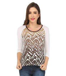 Buy Brown cotton spandex jersey tops top online
