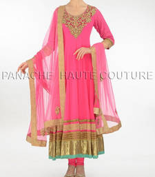 Sensational pink net suit with resham work shop online