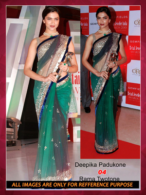 Buy Bollywood Replica Deepika Padukone Green Net Saree Online