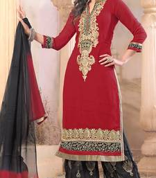Buy red embroidered Georgette semistitched salwar with dupatta pakistani-salwar-kameez online