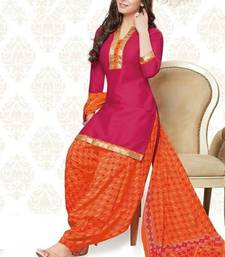 Buy Pink printed Cotton unstitched salwar with dupatta punjabi-suit online