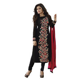 Buy Black embroidered georgette semistitched salwar with dupatta salwars-and-churidar online