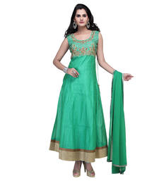 Buy Green net embroidered stitched salwar with dupatta readymade-suit online