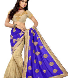 Buy Blue and chiku  georgette saree with blouse half-saree online