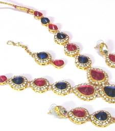 Buy Pink and blue Tilak stone Necklace set necklace-set online