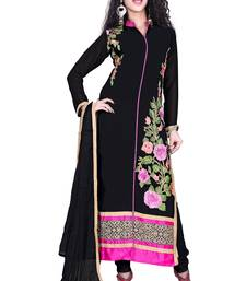 Buy Balck georgette embroidered unstitched salwar with dupatta dress-material online