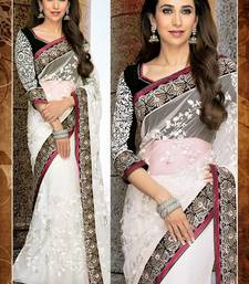 Buy White Embroidered Georgette Indian Ethnic Lace Border Saree with Blouse viscose-saree online