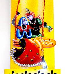 Buy Key holder decorative and wooden and handcrafted with god photo radhe krishna wall-art online