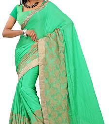Buy green embroidred art silk saree with blouse heavy-work-saree online