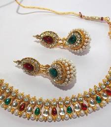 Buy Multi color pearl gota necklace set necklace-set online