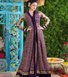 Buy Purple net and velvet embroidered semi stitiched salwar with dupatta party-wear-salwar-kameez online