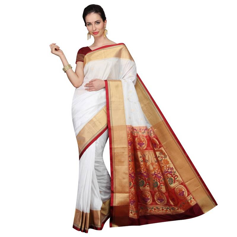 Buy WHITE Traditional Paithani Sarees Online