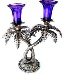 Buy Double Palm candle holder: Blue other-home-accessory online