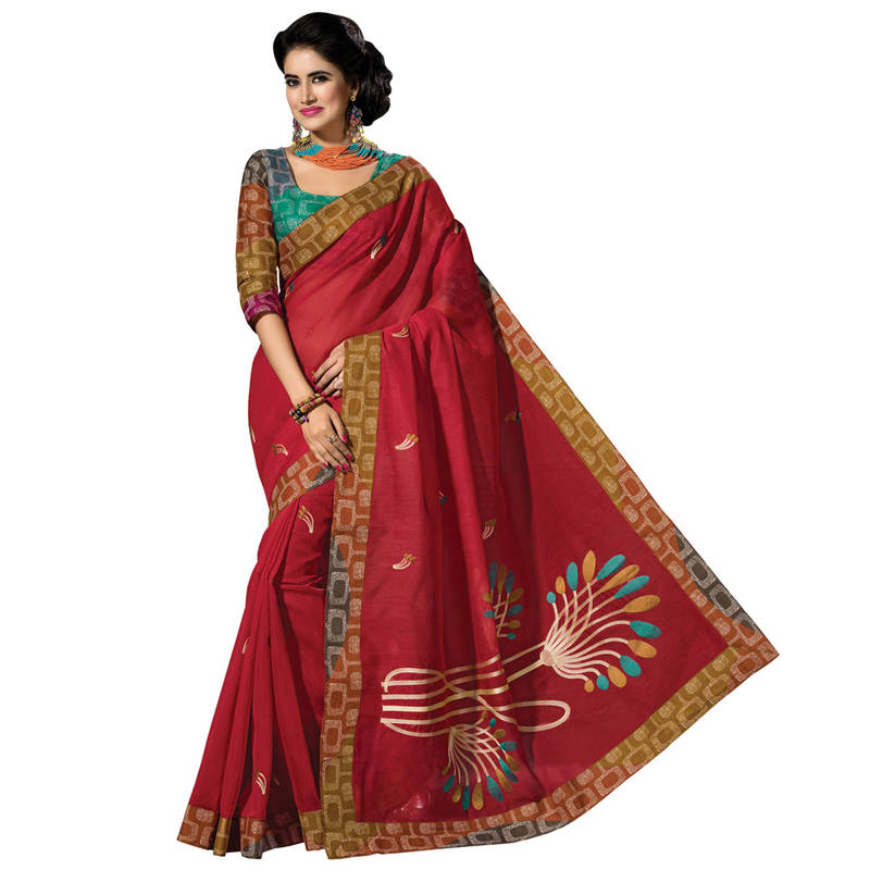 Buy Red Embroidered Cotton Saree With Blouse Online