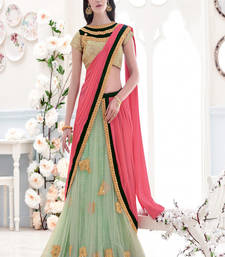Buy Gajri, Green embroidered chiffon saree with blouse one-minute-saree online