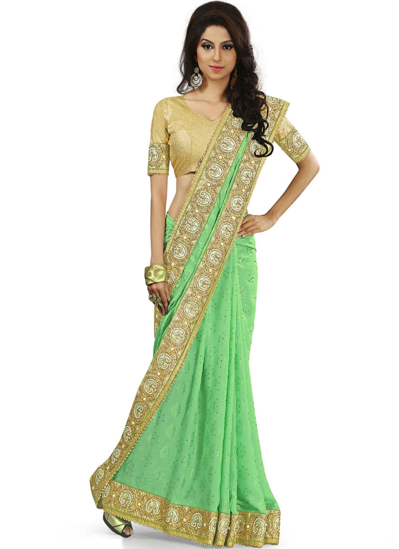 Buy Sea Green Embroidered Jacquard Saree Online