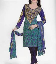 Buy Alluring Purple & Teal Printed Crepe Dress Material Unstitched Suit D. No. PO1111 dress-material online