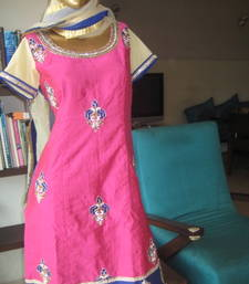 Buy Pink and Blue heavy embroidered kurta set party-wear-salwar-kameez online