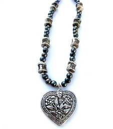 Buy Grey heart Necklace Necklace online