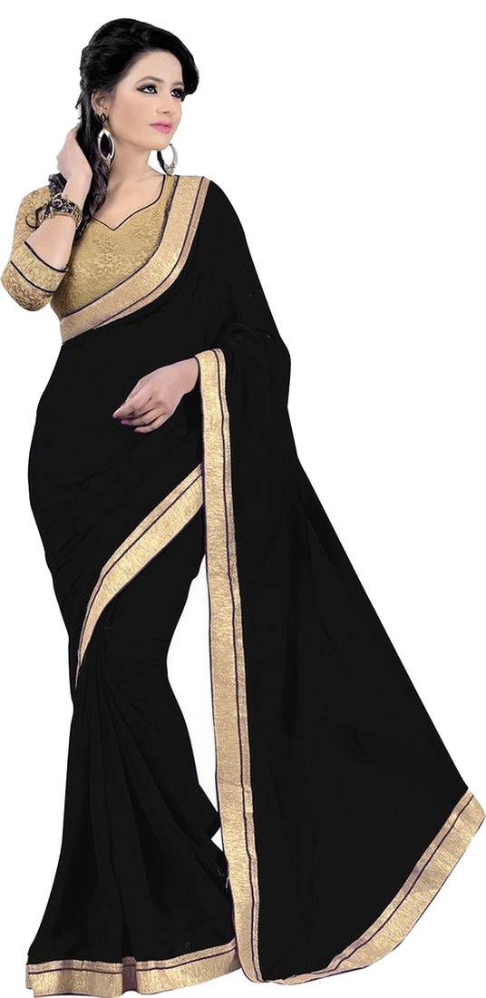 Buy Black and Gold embroidered georgette saree with blouse ...