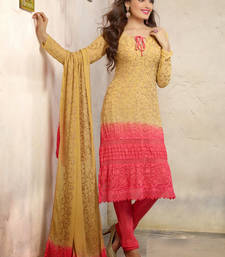 Buy Pink embroidered cotton unstitched salwar with dupatta cotton-salwar-kameez online