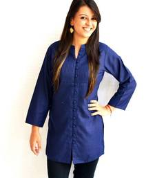 Buy Navy Blue Pintucks Kurti tunic online