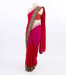 Buy Ombre Red & Pink art-silk-saree online