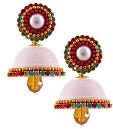 Buy White teracotta and dokra jhumkas terracotta-jewelry online