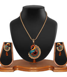 Buy multicolored embellished peacock pendant and earrings set Pendant online