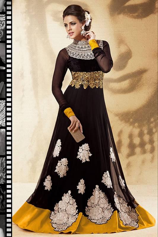 Buy Dazzling Diva Jet Black Salwar Kameez Online