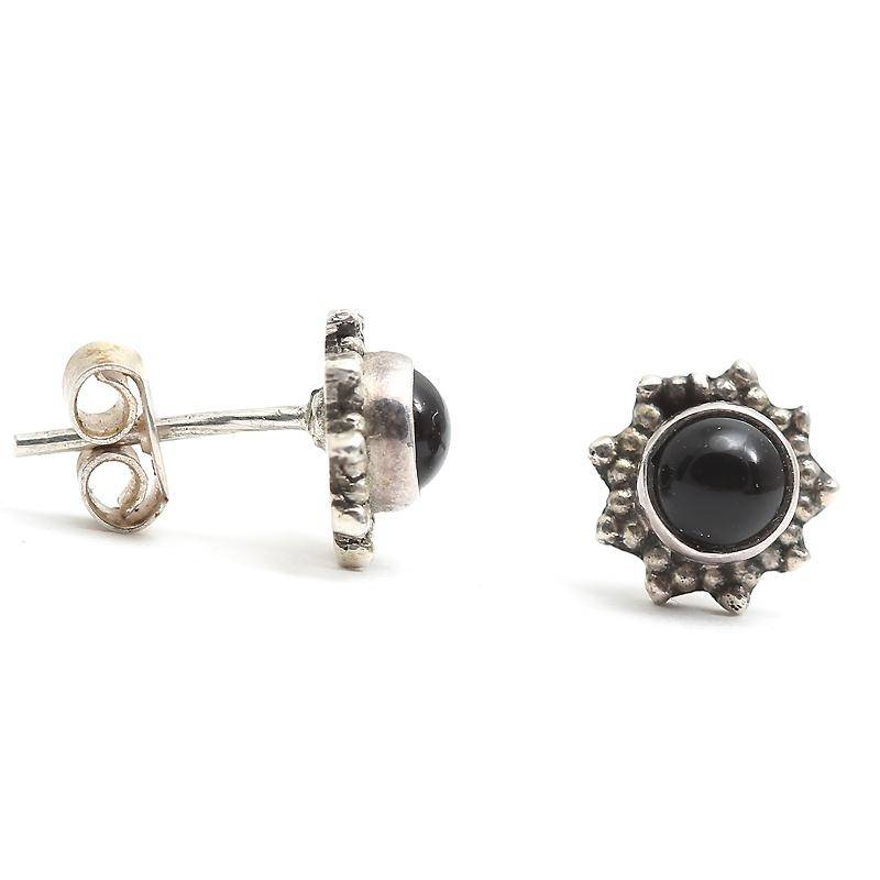 Black Stone Earrings: Buy Black Stone Studded Sterling Silver Stud Earrings Online