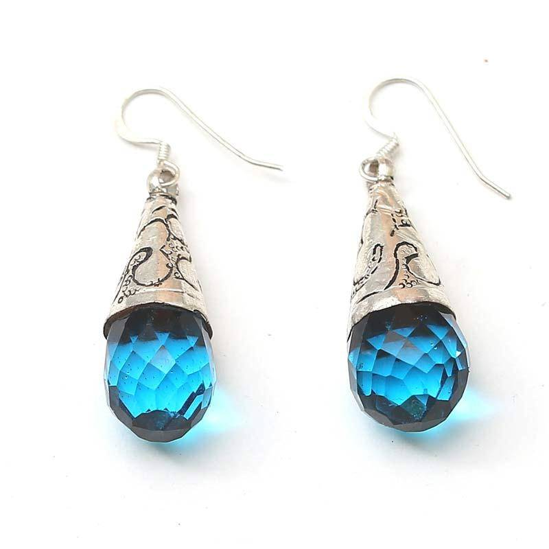 buy silver earrings with blue stones