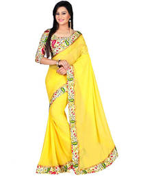 Buy yellow embroidred chiffon saree with blouse party-wear-saree online