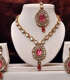 Buy Pink Kundan Necklace Set necklace-set online