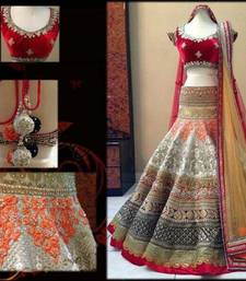 Buy Multi color embridered net unstitched lehenga choli lehenga-choli online