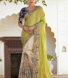 Buy Green embroidred chiffon saree with blouse chiffon-saree online