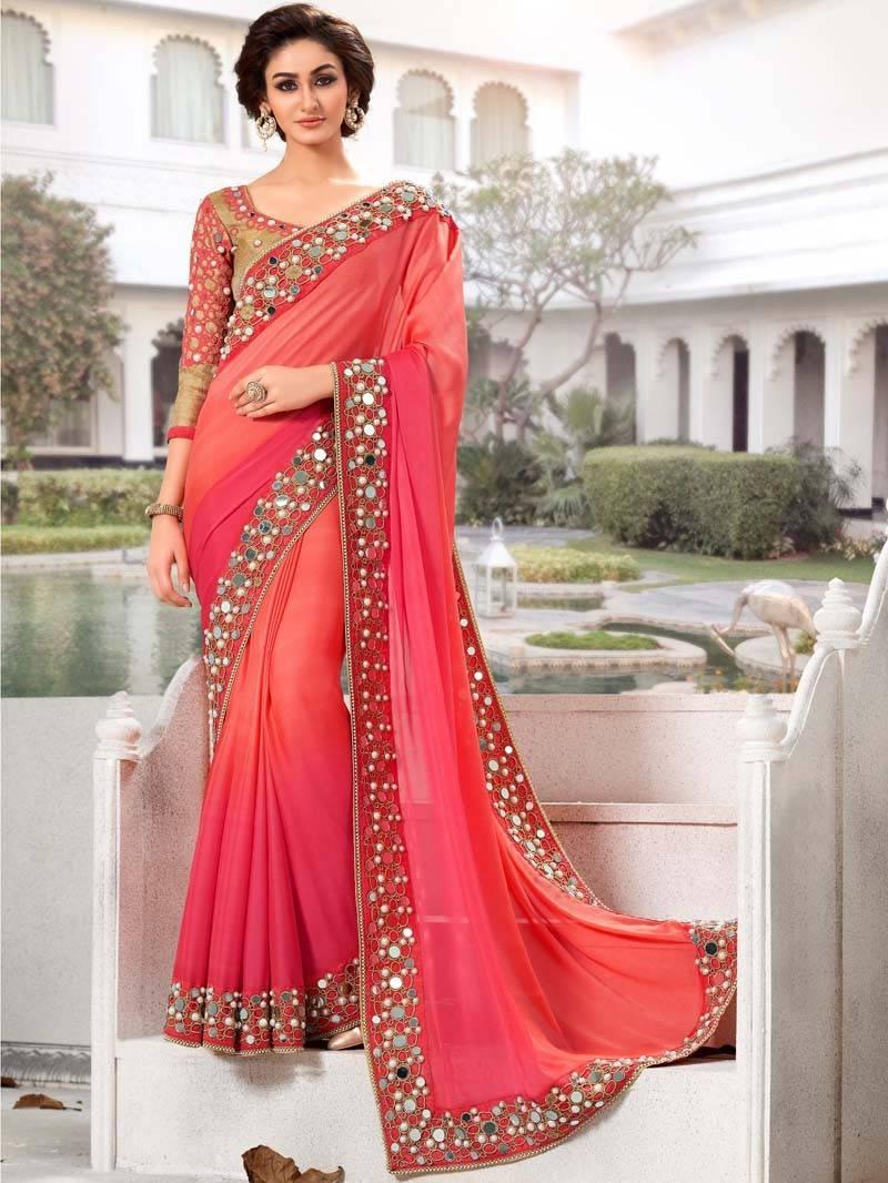 Buy Pink Georgette Mirror Work Saree With Blouse Piece Online
