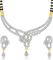 Buy Distinctive Gold And Rhodium Plated CZ Mangalasutra Set For Women mangalsutra online