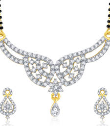 Buy Captivating Gold And Rhodium Plated CZ Mangalasutra Set For Women mangalsutra online