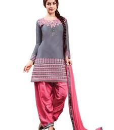 Buy Grey cotton embroidered semi stitched salwar with dupatta cotton-salwar-kameez online