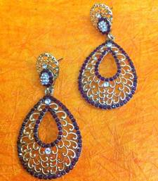 Buy Ethnic Jali Design in Tear Drop Maroon Stones with Diamentes Earring h162m  gifts-for-wife online