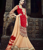 Buy Orange Embroidered Faux Georgette Semistitched Lehenga Choli With Blouse