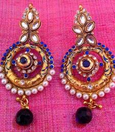 Buy Fine golden finish & exquisite meenakari blue pearl polki earring sh59b anniversary-gift online